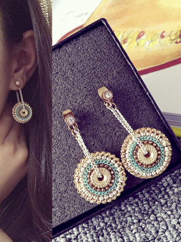 Bohemian Wind Round Round Handmade Chain Wrapped Earrings Women