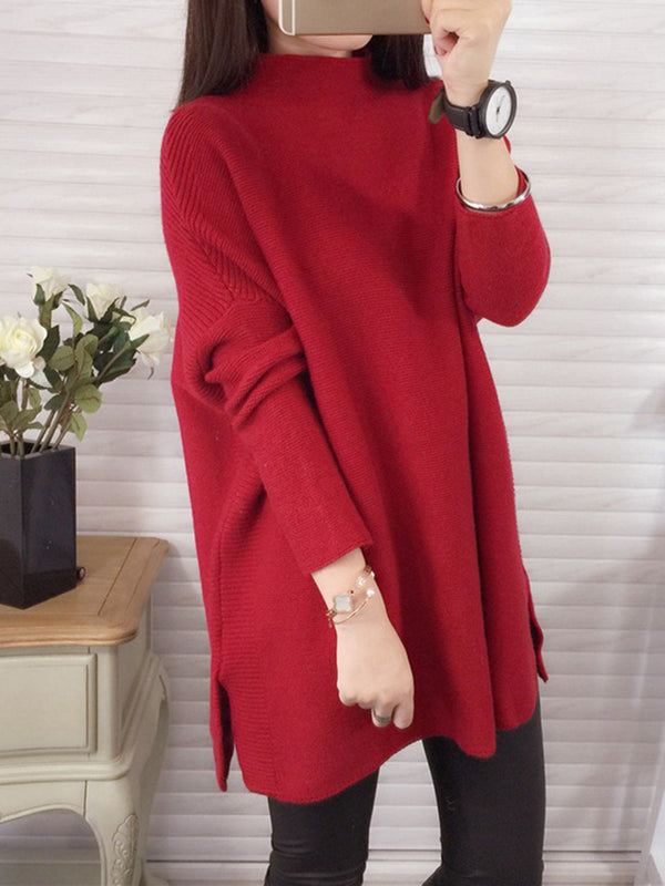 Long Sleeve Casual Slit Knitted Turtleneck Sweater