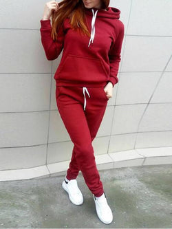 Set - Long Sleeve Plain Pockets Casual Hoodie Set