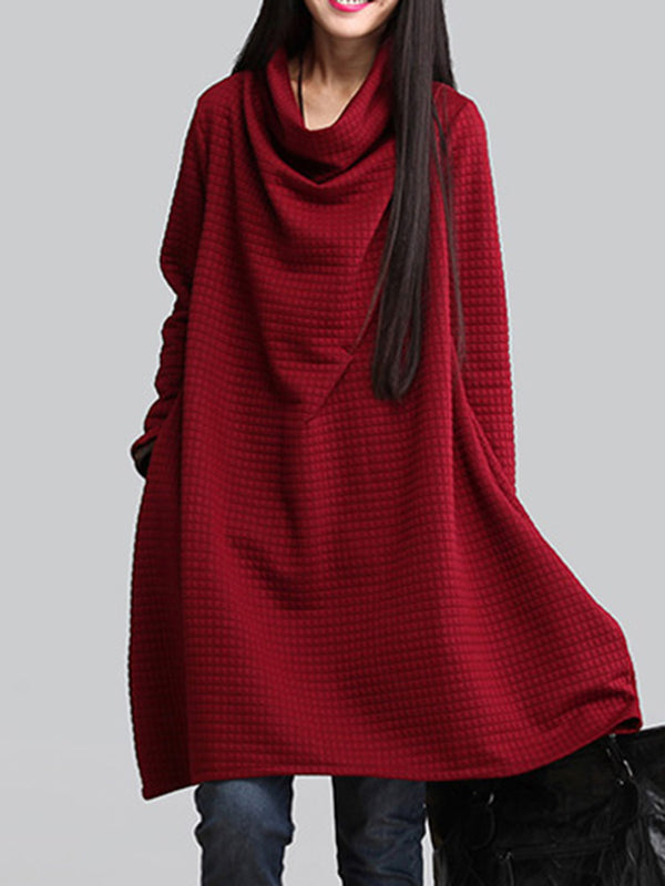 Women Casual Long Sleeve Cotton Blend Midi Dress