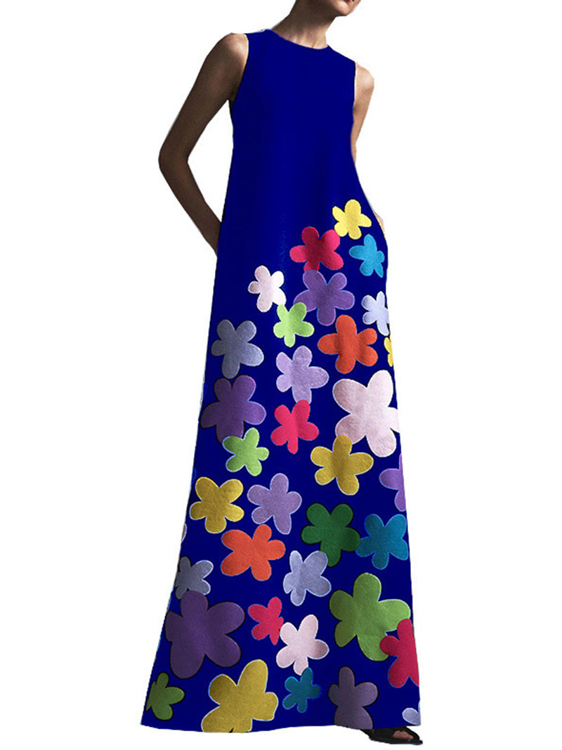 Women Floral Printed Party Evening Dresses Gown Robe