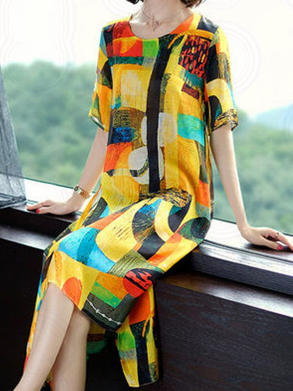 Crew Neck Multicolor Women Dresses Shift Daily Printed Dresses