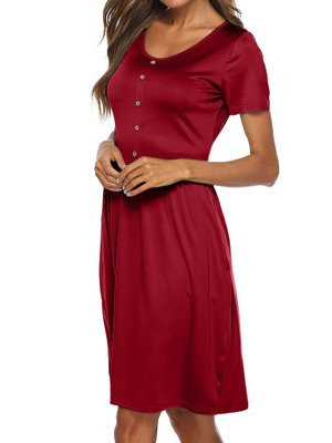 Crew Neck Women Summer Dresses Daytime Solid Dresses