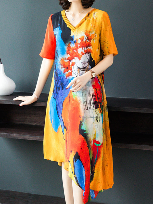 V Neck Flower Women Dresses Asymmetrical Daily Printed Dresses