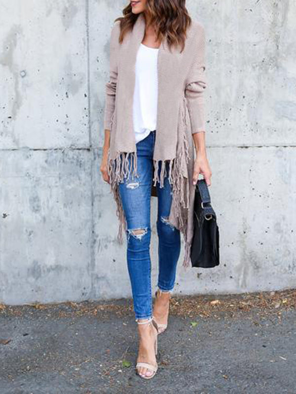 Fringed Tassels Knitted Cardigan