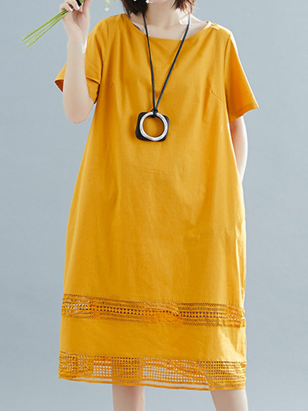 Crew Neck Yellow Women Dresses Daily Plain Dresses