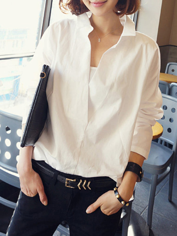 White Shirt Collar Guipure Lace Casual Plus Size Blouse