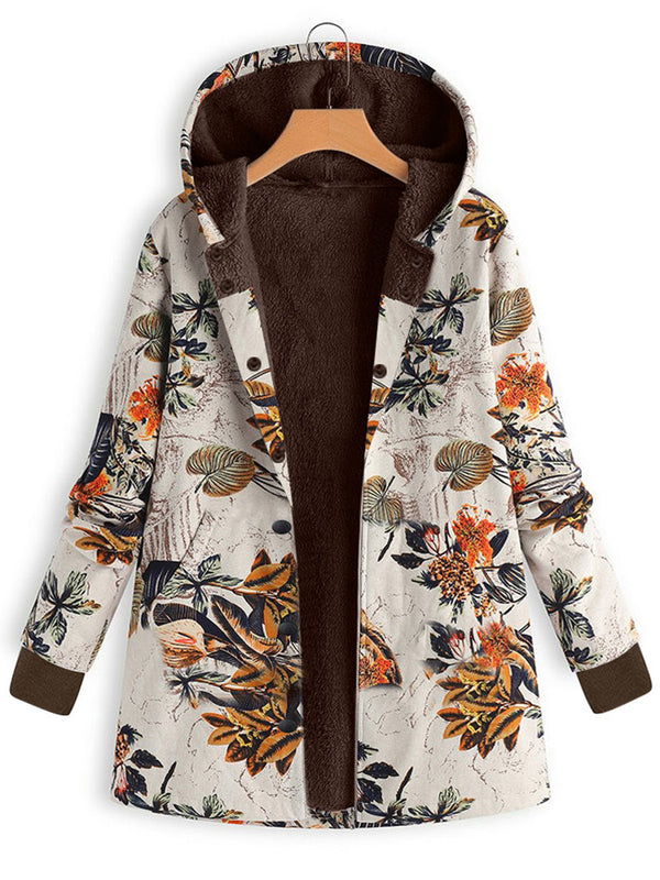 Leaves Printed Hoodie Long Sleeve Coat