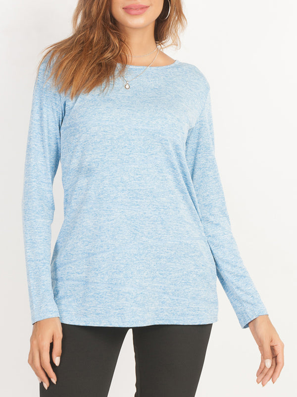 Casual Long Sleeve Crew Neck Tops T-Shirts