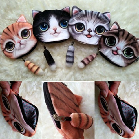 Cartoon Cat Zipper Design Workmanship Coin Purse for Ladies