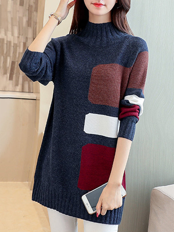 Color-block Turtleneck Sweater