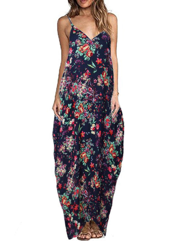 Cocoon Beach Holiday Floral Spaghetti Maxi Dress