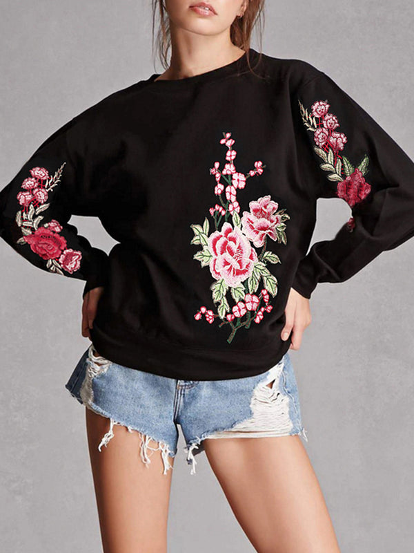 Casual Floral-embroidered Long Sleeve Sweatshirt
