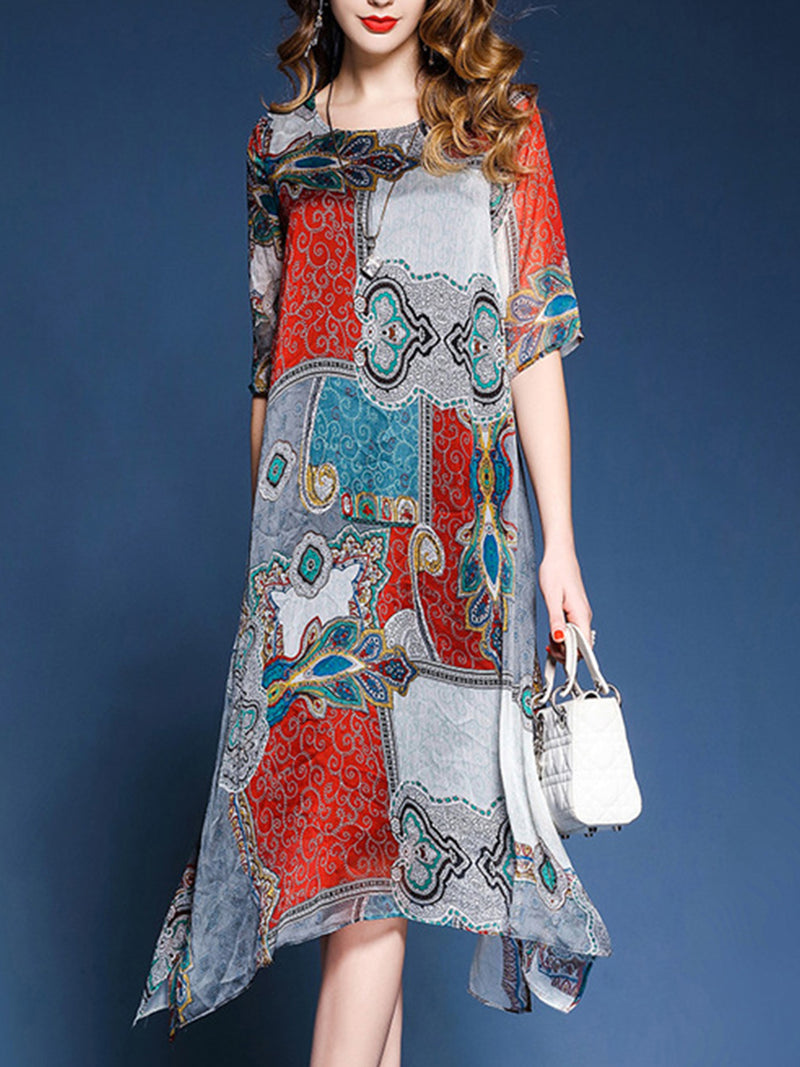 Multicolor Tribal Printed A-line Crew Neck Midi Dress