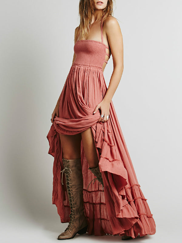 Boho Shirred Gathered Spaghetti Solid Halter A-line Maxi Dress
