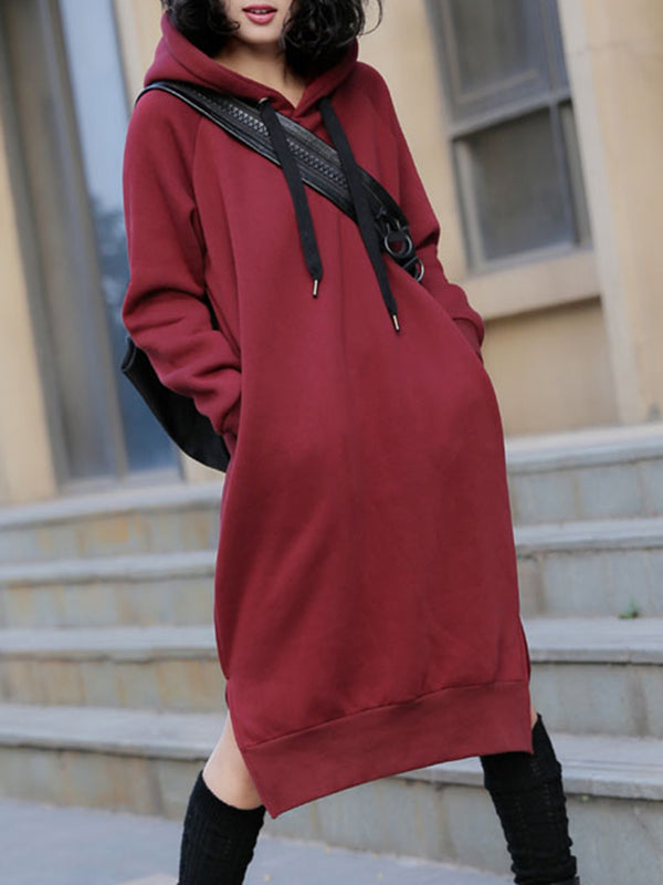 Casual  Lace up Pockets Solid Slit Hoodie