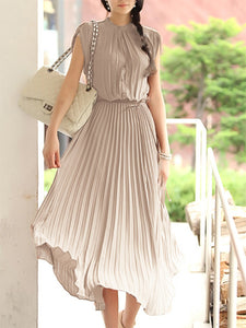 Casual A-line Pleated Stand Collar Midi Chiffon Dress