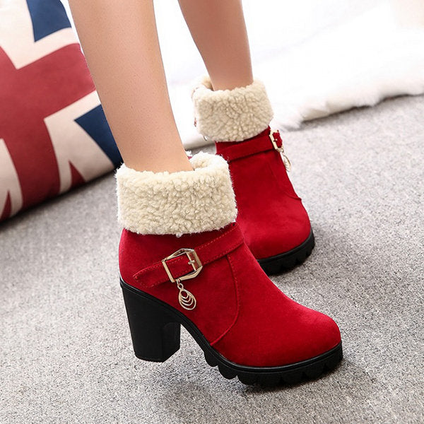Suede Chunky Heel Ankle Women Slip-On Round Toe Boots
