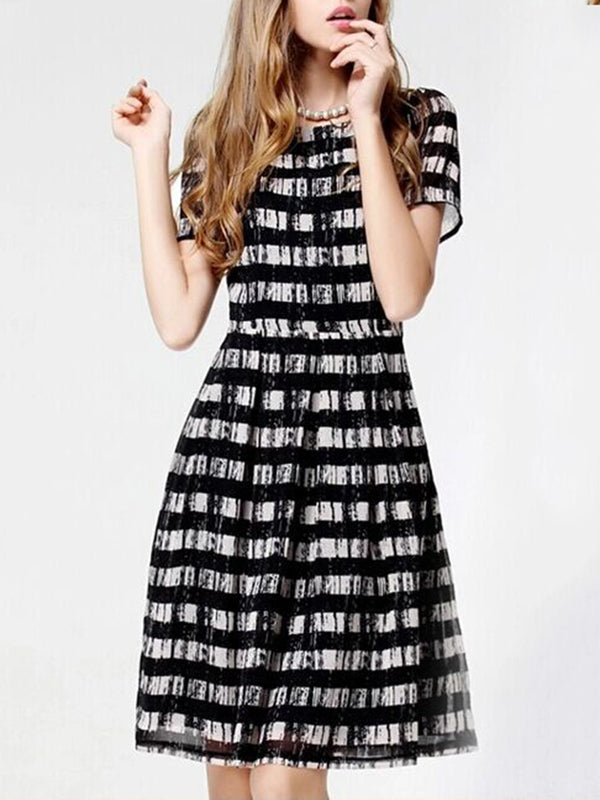 Black Elegant Crew Neck Striped Plus Size Chiffon Dress