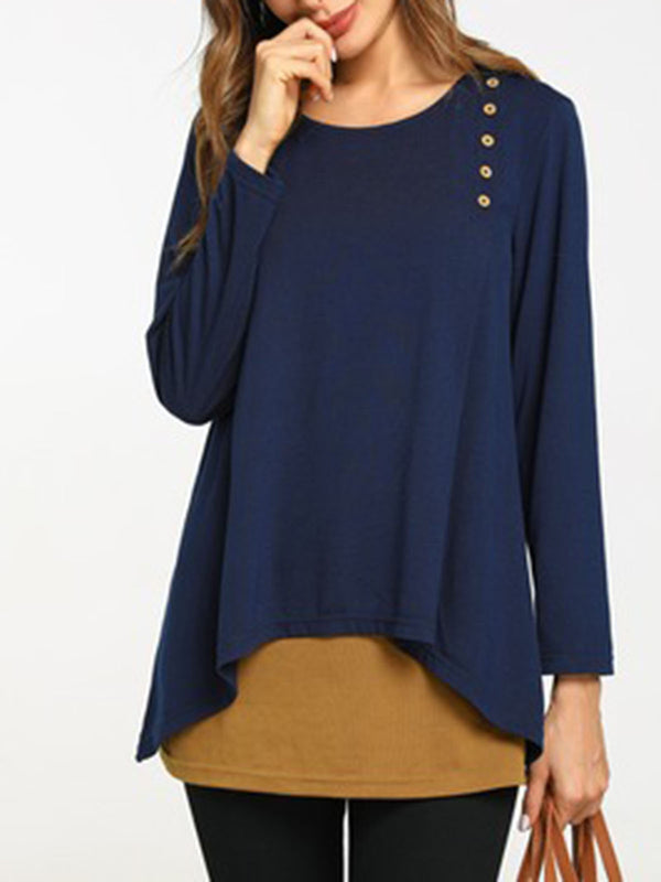 Plus Size Navy Blue Casual Polyester H-line Tunic