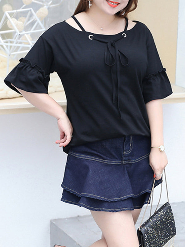 Frill Sleeve Casual Solid Gathered Plus Size T-Shirt
