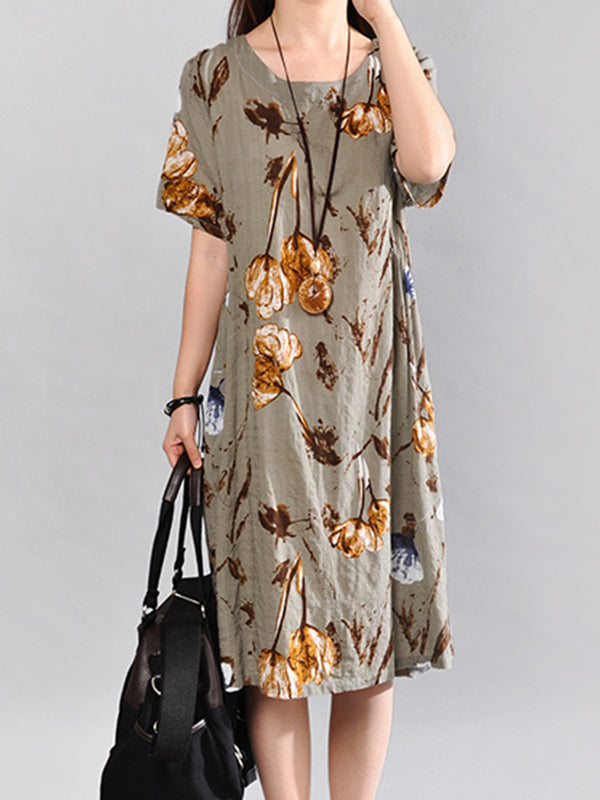 Women Midi Floral Printed Linen A-line Dress
