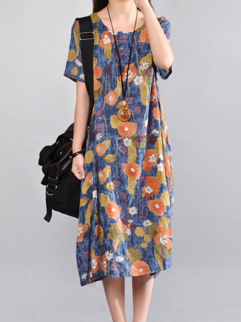 Blue Crew Neck Cocoon Short Sleeve Floral Print Dress