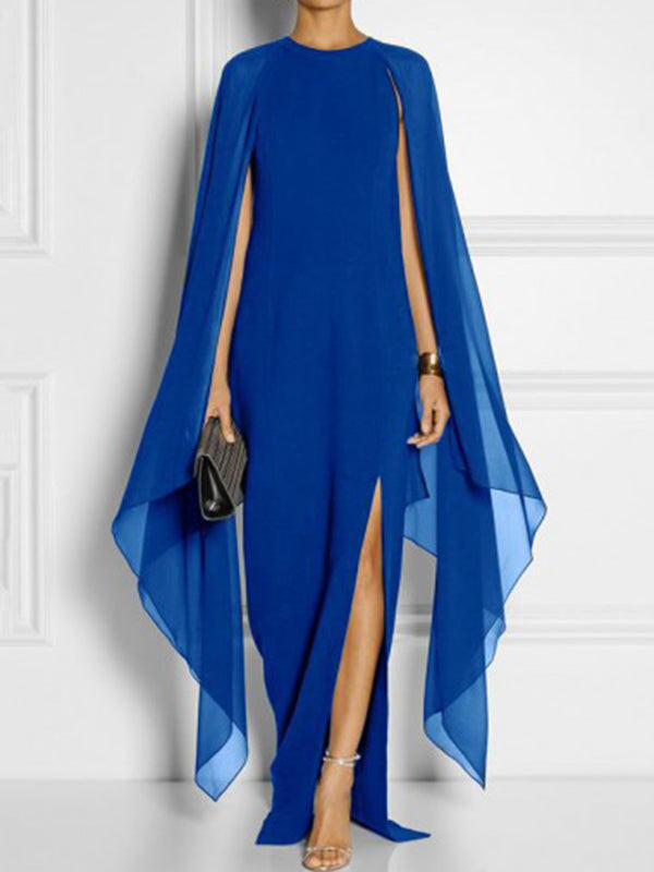 Chiffon Paneled Slit A-line Cape Sleeve Solid Maxi Dress