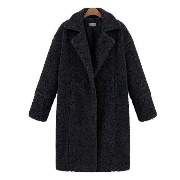 Casual Turn-down Collar Buttoned Winter Cotton Solid Wool Teddy Bear Coat