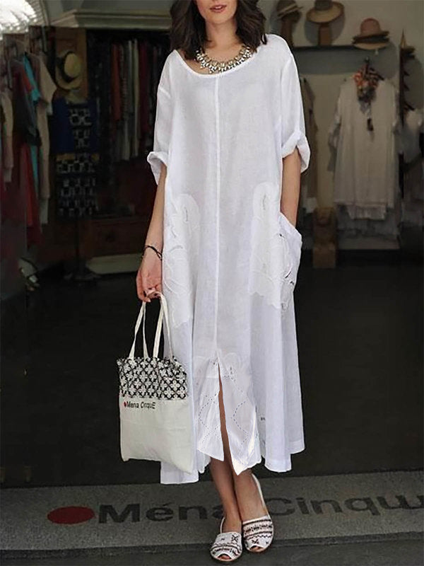 White Crew Neck Solid 3/4 Sleeve Dress