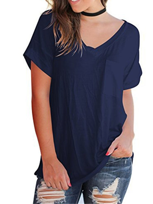 Pockets Paneled  Casual Solid Short Sleeve T-Shirt