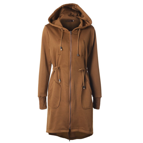 Drawstring Waist Hoodie Zipper Long Sleeve Pockets Coat
