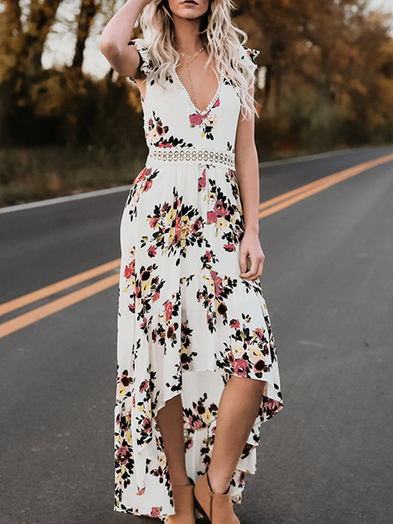 V-Neck Frill Sleeve Backless Casual Printed Dress