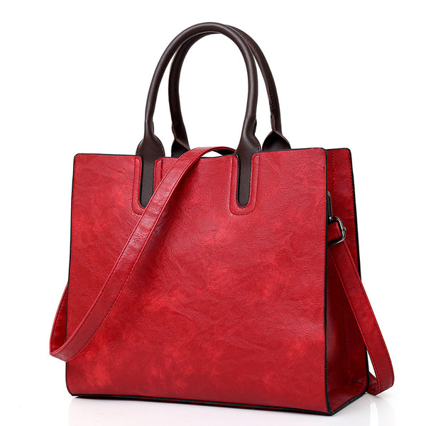 Womens Casual Zipper PU Simple Tote Bags Crossbody Bags