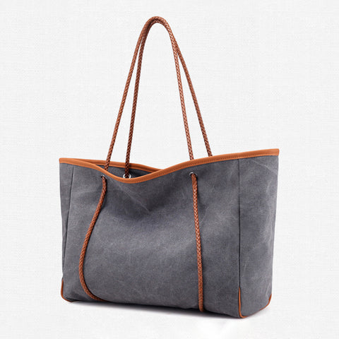 Womens Large Capacity Canvas Zipper Casual Tote Bags