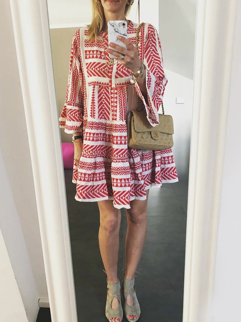 Red Printed Swing Tribal Casual Summer Dress