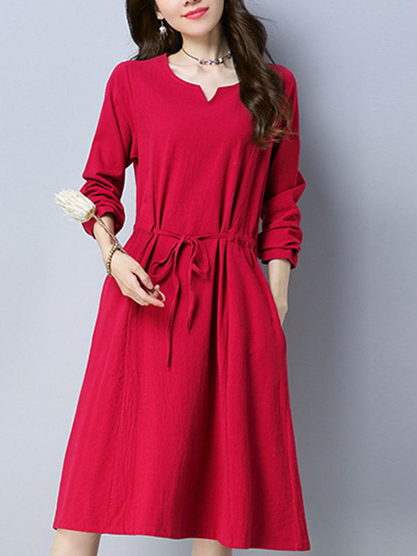 Red V Neck Solid Pockets Casual Dress