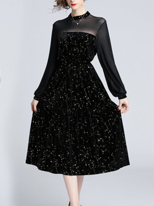 Mesh Paneled Elegant Balloon Sleeve Glitter Star Dress