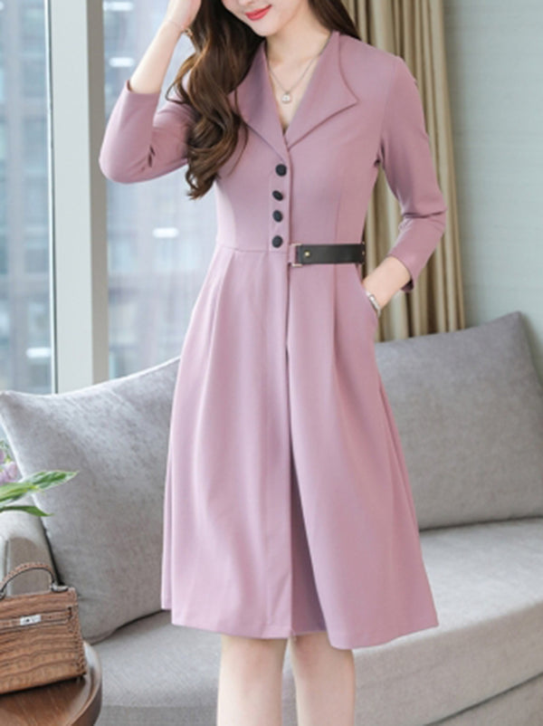 Spring Autumn New Long Sleeve Female A-line Dress