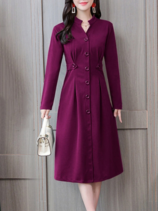 Solid Stand Collar Elegant A-line Dress