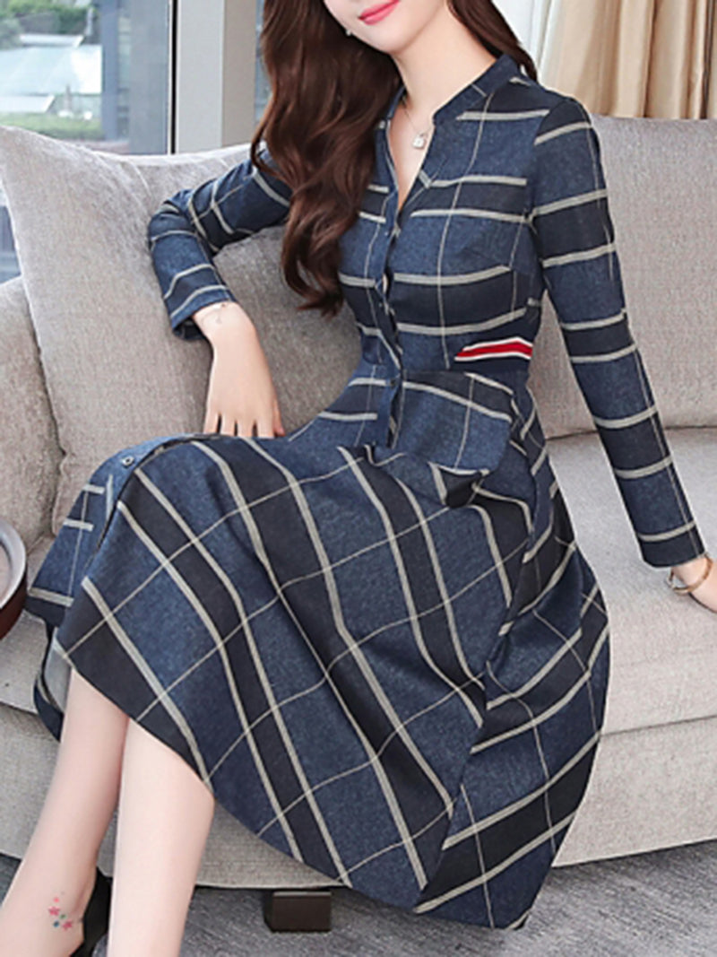 Elegant A-line Gathered Buttoned Stand Collar Midi Dress