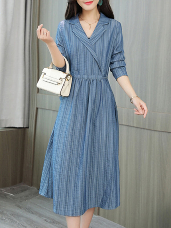 Gathered Pleated Elegant Shawl Neck Midi Dress