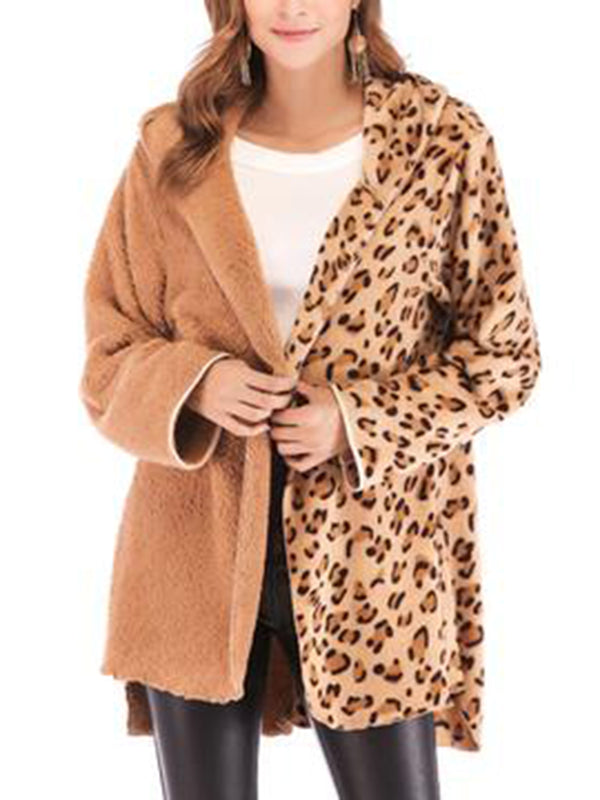 Camel Cotton Patchwork Long Sleeve Coats