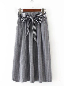 Gray Bow Plaid A-line Casual Skirt