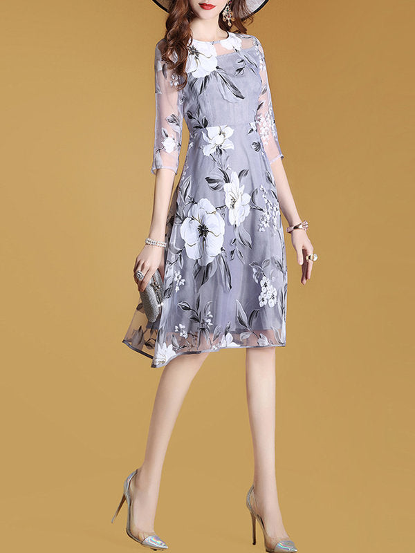 Gray 3/4 Sleeve Printed A-line Floral Elegant Dress