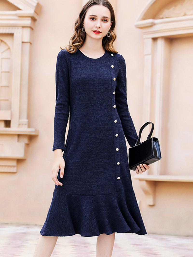 Solid Crew Neck Loose Casual Dress