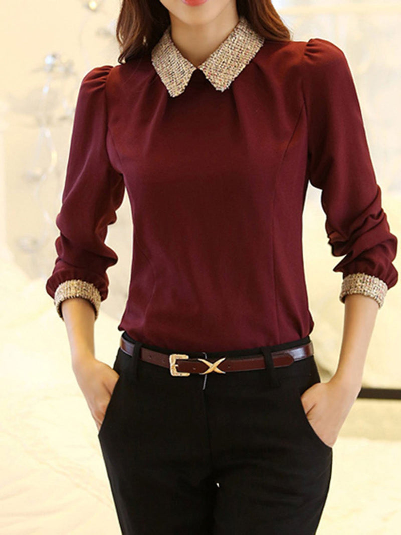 Elegant Chiffon Sequins Embroidered Blouse