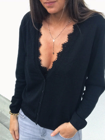 Women V Neck Knitted Solid Long sleeve Sweater