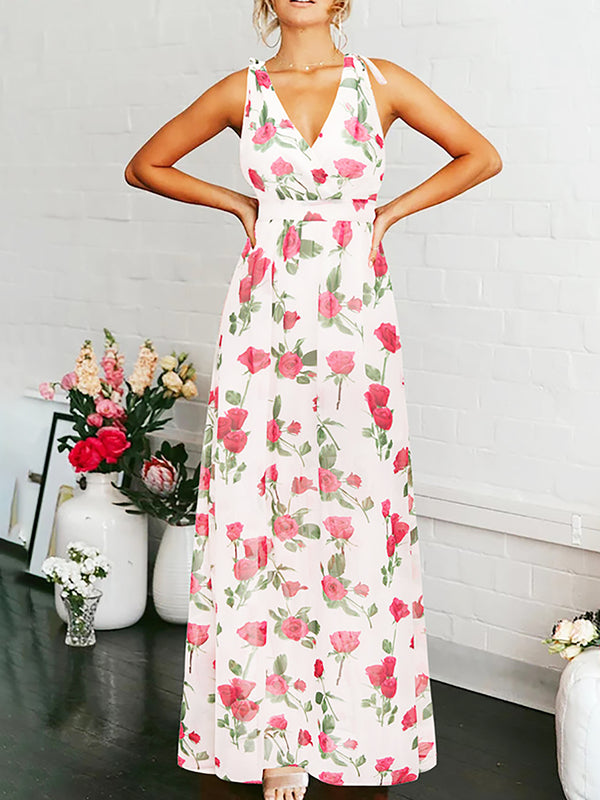 Holiday Sleeveless Floral Printed Chiffon Maxi Dress