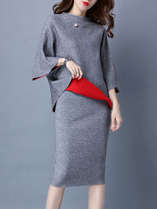 Gray Crew Neck 3/4 Sleeve Knitted Top With Skirt